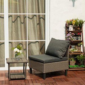 Combinaisons Rattan Mobilier de jardin, Lounge Fauteuil en polyrotin Canapé lounge avec coussin Gris
