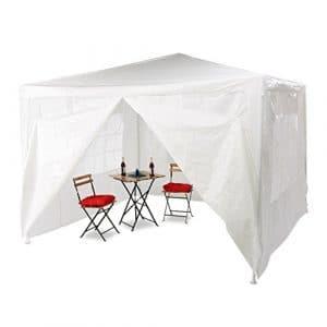 Relaxdays Tonnelle pergola 3×3 m , 4 côtés cadre métal PE tente de jardin fermée pavillon chapiteau, blanc