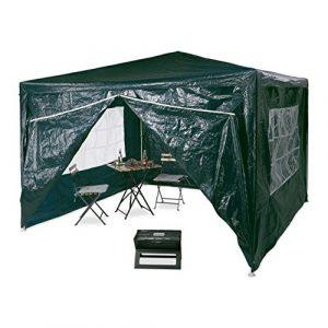 Relaxdays Tonnelle pergola 3×3 m , 4 côtés cadre métal PE tente de jardin fermée pavillon chapiteau, vert