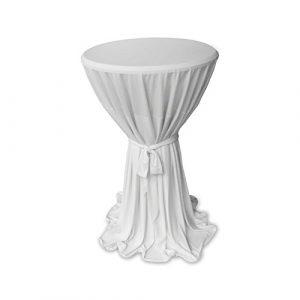 Élégant Housse pour Table Gartenmobel-Einkauf Blanc avec ruban Ø 60cm ou Ø 80cm Mange-debout Couvre-lit Hauteur 145cm, Microfibre, Weiß, 80cm rund