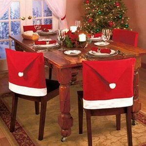 Hoomall 1PC Housse de Chaise Chapeaux de Noël Fête Décoration pr Cuisine Maison 65x50cm