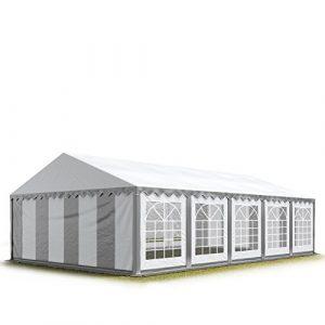 5×10 m Tente de réception / Barnum gris-blanc, toile de haute qualité 500g/m² PVC , constructionen acier galvanisé avec raccordement par vissage