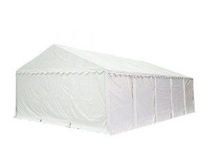 Abri / Tente de stockage PREMIUM – 5 x 10 m anti-feu en blanc – avec cadre de sol et renforts de toit, bâches en PVC haute densité 500 g/m² 100% imperméable, armature en acier galvanisé (antirouille), fixage par boulonnage
