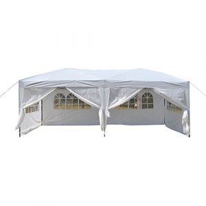 Befied Tente de Réception Résistance Pliante Imperméable avec Couverture en Tissu et Ancrage au Sol 3×6 m (Blanc)
