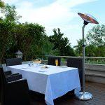 Chauffage d'extérieur parasol chauffant électrique sur pied hauteur réglable max 205cm et tête inclinable – 2100W