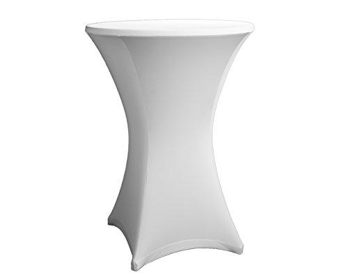 Expand Housse pour Table Blanc–Housse pour tables Housse pour mange-debout, Bistro–Lot de 2075cm en kit–Ø 70cm–Stretch