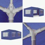 JOM 127146 Barnum de jardin, 3 x 6 m, avec 6 parois latérales, 4 avec fenêtre et 2 sans, connecteurs en plastique, avec piquets et câbles, bleu