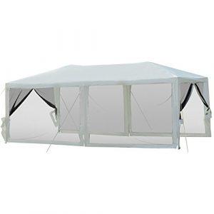 Outsunny Tonnelle Tente Pavillon de Jardin Chapiteau de Réception Hydrofuge 6 Moustiquaires 6 x 3 x 2.55m Blanc