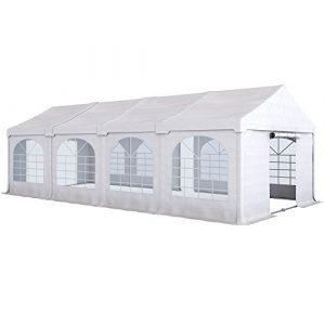PARAMONDO Tonnelle de réception Flex 4 x 8 m, blanc-blanc extensible sur 4 x 4 m, 4 x 6 m, 4 x 8 m