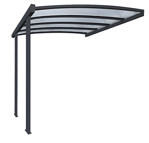 Pergola en aluminium cintrée adossée toiture en polycarbonate 16 mm avec gouttière 4×3,5m grise