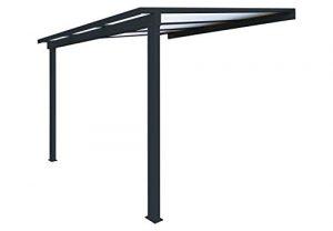 Pergola en aluminium classique adossée toiture en polycarbonate 16 mm avec gouttière – Gris – 4x3m