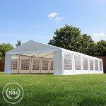 Tente Barnum de Réception 6×12 m ECONOMY Bâches Amovibles PVC 500 g/m² blanc / Jardin Tonnelle Pavillon Chapiteau