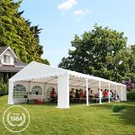Tente de réception 5×10 m en gris-blanc Chapiteaux mariages – PREMIUM – 500g/m² PVC – cadre del sol
