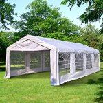 Tente barnum tonnelle de réception 8 x 4 x 2,8 m polyéthylène imperméable 8 fenêtres et acier galvanisé robuste blanc neuf 14