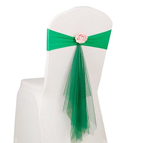 Arichtop Bowknot Fleur Chaise ruban No-tie Chaise Bow Sash Mariage Housse de chaise dossier de chaise Décor vert gazon
