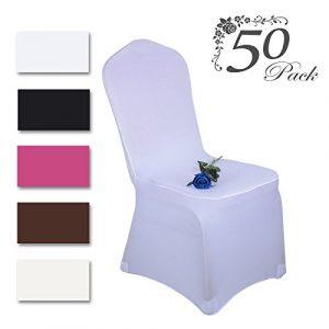Voilamart 50PCS Housse de Chaise Blanc Dacron Spandex Extensible Couverture Décoration Mariage Banquet Party Fête Noël Anniversaire Restauratn Hôtel