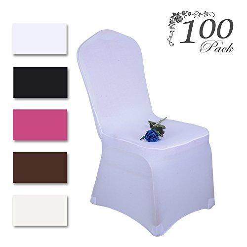 Voilamart Housse de Chaise 100pcs Blanc Spandex Dacron Extensible Lavable Pour Mariage Cérémonie Party Banquet Fête Restaurant Hôtel Décor Chaise Couverture Neuf