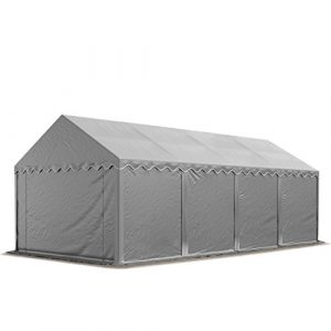 Abri / Tente de stockage ECONOMY – 4 x 8 m en gris – toile PVC 500 g/m² imperméable / protection contre les rayons UV (80+) / structure robuste en acier galvanisé
