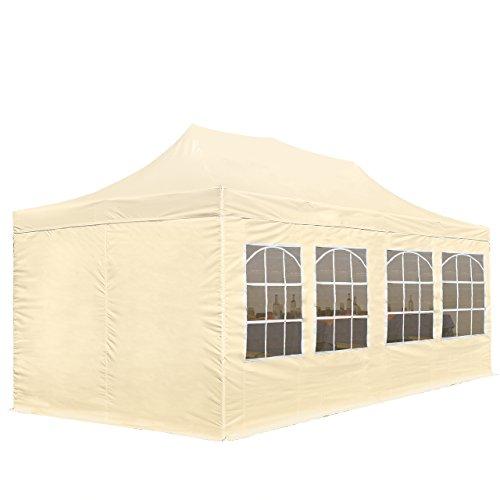 Tente Pliante 3 x 6 m ECONOMY PE 300 g/m² beige + Bâches Côté + Housse / Barnum Chapiteau Pliant Tonnelle Stand Paddock Réception