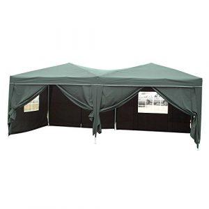 Befied Tente de Réception Résistance Pliante Imperméable avec Couverture en Tissu et Ancrage au Sol 3×6 m (Vert)