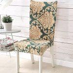 Housse de chaise repas chaise housse lavable amovible Stretch-Housse Bi-élastique Spandex housse(Feuilles)