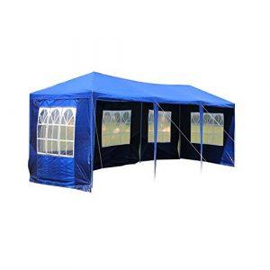 mctech® 9x 3m Lave-vaisselle Tentes Tonnelle Tente de jardin pavillon bière tente tonnelle Lave-vaisselle avec 8parois latérales, 6x fenêtre, 2x porte avec fermeture éclair, étanche PE Bâche Camping tente SG Blau, 9 x 3 m mit 5 Seitenwände