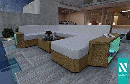 nativo© Designer Canapé lounge de jardin en rotin Canapé lounge Aventador Outdoor XXL V1