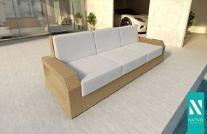 NATIVO© Meubles de jardin en rotin Canapé lounge MESIA 3 places V1