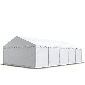 Abri / Tente de stockage ECONOMY – 5 x 10 m en blanc – toile PVC 500 g/m² imperméable / protection contre les rayons UV (80+) / structure robuste en acier galvanisé