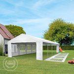 Tente de réception 3×6 m pavillon blanc bâche PE épaisse de 180 g/m² imperméable tente de jardin