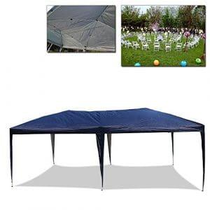 Pavillon de jardin HG® 3 x 6 m – Tente pliable – Pavillon à bière – Tonnelle pliable – Imperméable – Coutures scellées PVC – Tente de soirée bleu