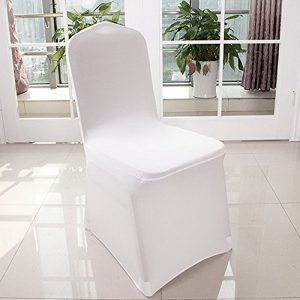 Qulista Housse de Chaise Antitache Universelle Extensible Décoration Royal Classic Blanche 20/50/100 pcs (100PCS(Type A))