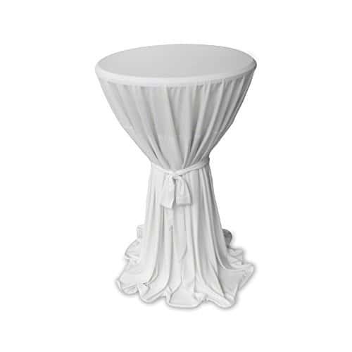 Élégant Housse pour Table Gartenmobel-Einkauf Blanc avec ruban Ø 60cm ou Ø 80cm Mange-debout Couvre-lit Hauteur 145cm, Microfibre, Weiß, 60cm rund