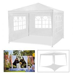 HG® 3 x 3 m Jardin Tonnelle Tente Stabilepartyzelte étanche Jardin Camping tente SG tubes d'acier stable de haute qualité Chapiteau Weiß