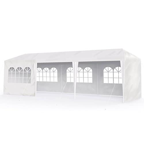 Sekey 3 x 9 m Imperméablebelvédèresavec des murs latéraux/jambes réglables, pour jardin/fête/mariage/pique-nique, UV30 +, blanc