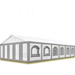TOOLPORT Tente de Réception 6×12 m Toile de Haute qualité 240g/m² PE Gris-Blanc Construction en Acier Galvanisé avec raccordement par vissage