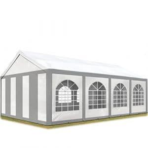 TOOLPORT Tente de Réception 4×8 m Toile de Haute qualité 240g/m² PE Gris-Blanc Construction en Acier Galvanisé avec raccordement par vissage