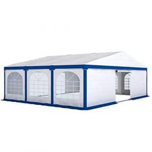 PARAMONDO Tonnelle de réception Flex 8 x 6 m, blanc-bleu extensible sur 8 x 4 m, 8 x 6 m