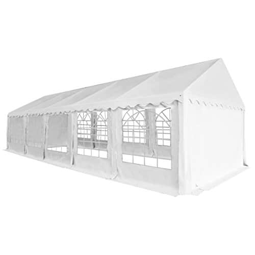 vidaXL Chapiteau de Jardin PVC 5×10 m Blanc Tente Pavillon Tonnelle de Jardin