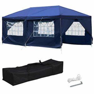 Yaheetech Tente de réception Pliant Tonnelle de Jardin 3 x 6 M Pavillon Barnum de Fête Pop-up Imperméable Bleu