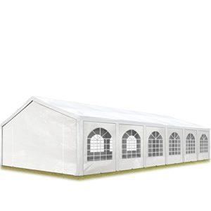 TOOLPORT Tente de réception 6×12 m, Toile de Haute qualité 240g/m² PE Blanc Construction en Acier galvanisé avec raccordement par vissage