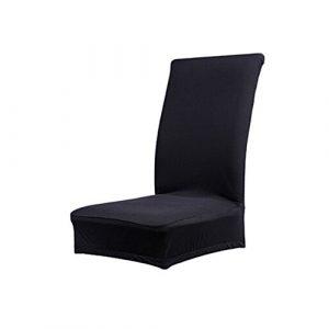 1 x Housse de Chaise de Salle à Manger Couverture Amovible Stretch Unie Polyester Spandex D&&R (Noir )