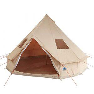 10T Desert Tente Pyramide Sol Cousu 10 Personnes Mixte, Beige, 500 x 500 x 300 cm