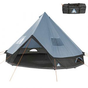 10T Outdoor Equipment Mixte – Adulte Camping Tente Mojave 400 Arona XXL Tipi Tente Ronde étanche 4-8 Hommes Tente Indienne Ø 4 m Bleu