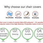 4 Pièces Housses de Chaise de Salle à Manger Couverture de Chaise Extensible Amovible Lavable élastique pour Un Ajustement Universel