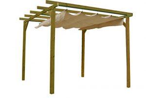 AD Services Pergola en Bois traité avec auvent Coulissant 270 x 270 x 254 cm