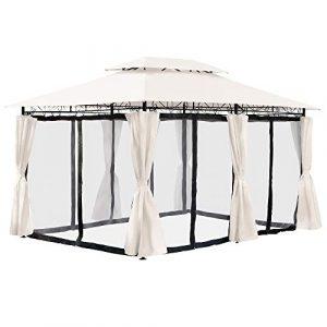 Arebos Pavillon 3 x 4 mètres Tente de fête pavillon de Jardin moustiquaire Beige, Anthracite, Brun, Rouge (Beige)