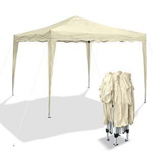 Barnum de jardin, beige, pliable 3 x 3 m, matériau Oxford 200D, structure métallique, protège contre les petites pluies, avec sac