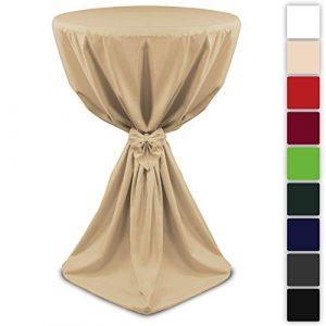 Beautissu Housse de table de bistrot – Mange debout – Deco Cocktail banquet – Avec noeud – Giulia – Ø 70cm – Ecru