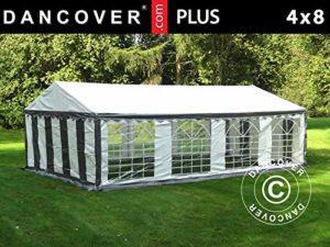 Dancover Tente de réception en PE Gris/Blanc 4 x 8 m